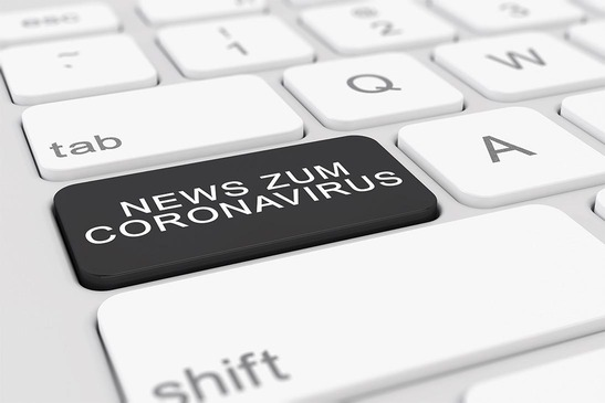 3d Illustation zeigt Tastatur mit Newsbutton Zum Coronavirus