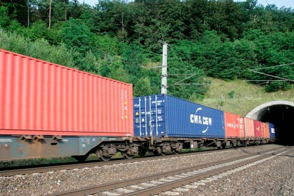 Freight train with containers