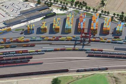 Visualisierung eines Containerterminals aus der Luft