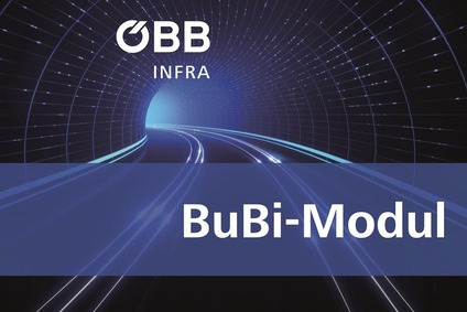 Teaser image with a tunnel with rail track and text Bubi-Modul