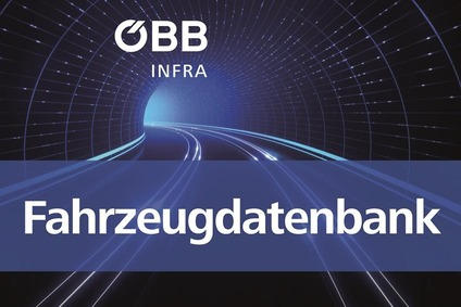 Teaser image with a tunnel with rail track and text Fahrzeugdatenbank