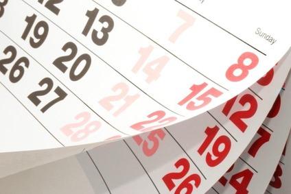 Kalenderblatt mit Zahlen