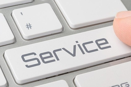 Keyboard showing the word service