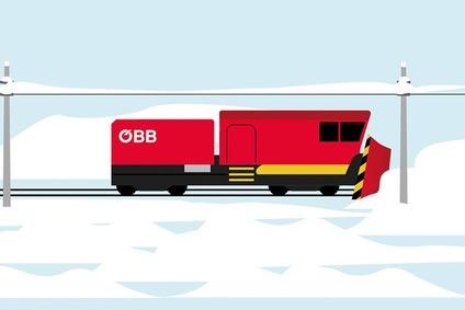 Grafische Darstellung einer Lok mit Schneepflug auf einem Gleis in Winterlandschaft.