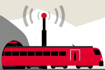 Grafik zeigt Zug mit einer Antenne