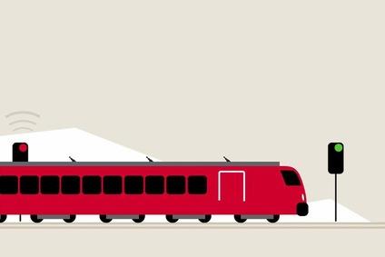 Ein Zug fährt von links durch eine abstrakte Landschaft. Man sieht ein rotes und ein grünes Signal.