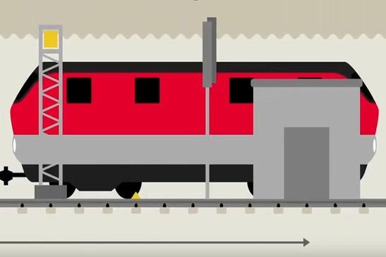 Grafik einer Lok, die an einer Messeinrichtung auf der Schiene vorbeifährt.