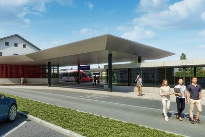 Planning view of the bus terminal and railway station Braunau