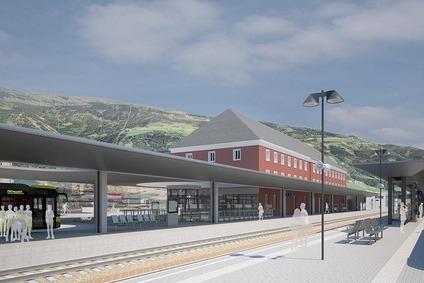 Visualisation island platform Lienz railway station