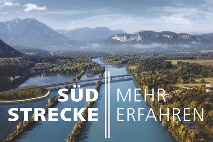 Blick auf die Draubrücke mit dem Schriftzug des Online Magazins Südstrecke.
