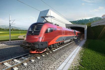 Visualisation of a Railjet passing the Koralm Tunnel.