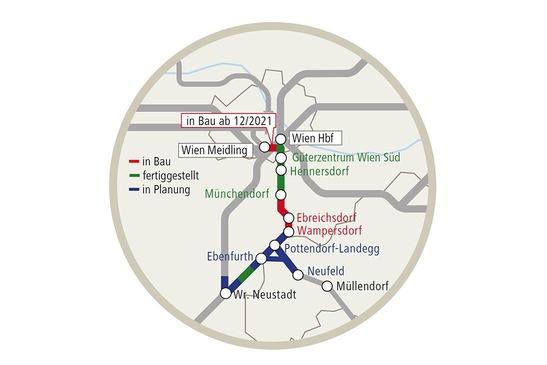 Grafik Trasse Pottendorfer Linie & Schleife Ebenfurth