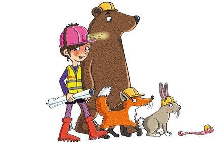 Grafik Mini-Ingenieur mit Bär, Fuchs, Hase und Wurm