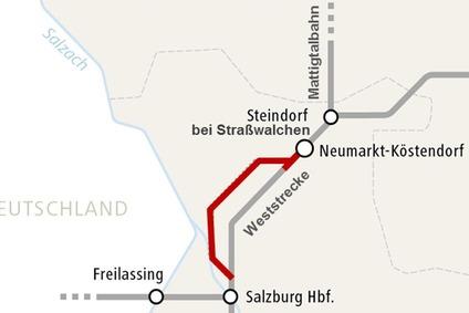 Skizze der Strecke Köstendorf–Salzburg