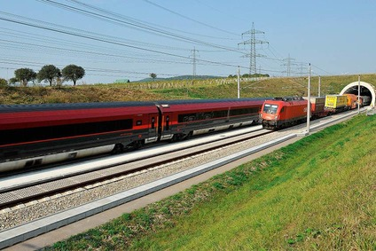 Two trains on the new and modern track between Vienna and St. Pölten