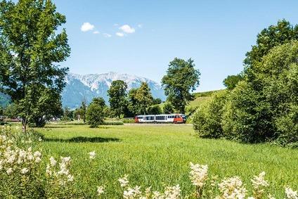 Zug nähe Puchberg und Schneeberggruppe