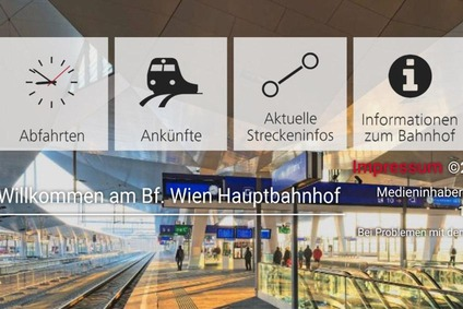 Screenshot auf einem Mobiltelefon mit Anzeige Abfahrten, Ankünfte, Aktuelle Streckeninfo und Informationen zum Bahnhof