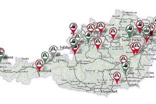 Screenshot einer Österreichkarte
