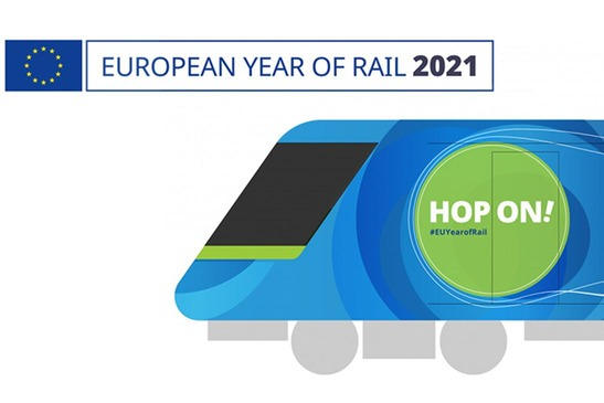 Front section of train image Connecting Europe Express with inscription Hop On!