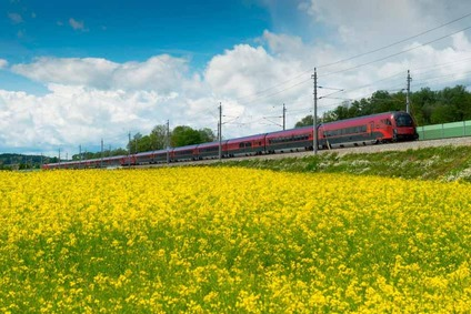 Canola field with train in the background