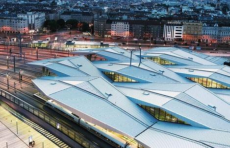 Auf diesem Foto wird der Wiener Hauptbahnhof aus der Vogelperspektive gezeigt.