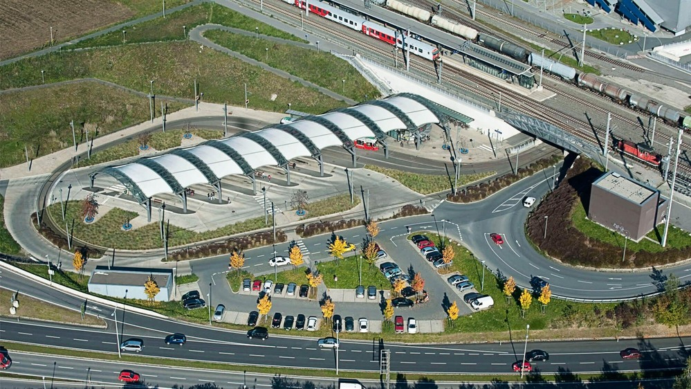 This photo shows an aerial view of a Park and Ride facility.