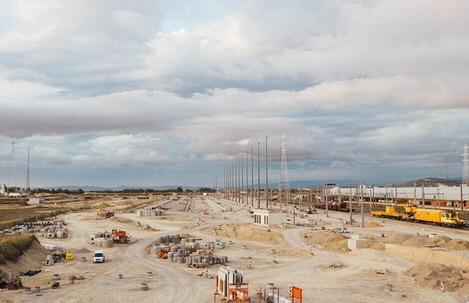 Das Foto zeigt die erste Bauphase des Güterzentrums Wien Süd.