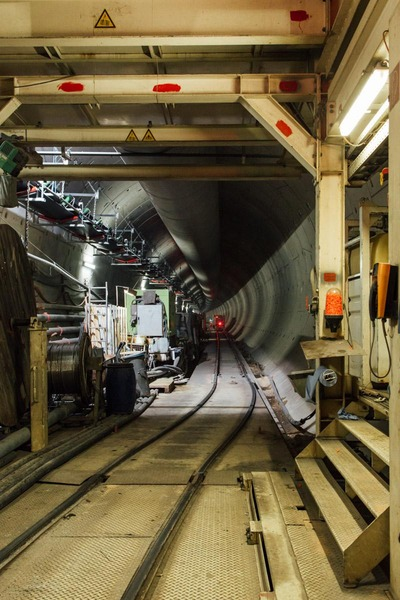 This picture shows the track of a rescue train. The track runs inside a tunnel.