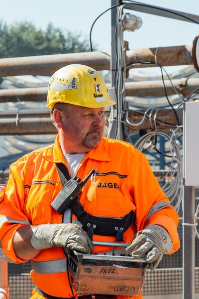 This picture shows a miner with a control unit.