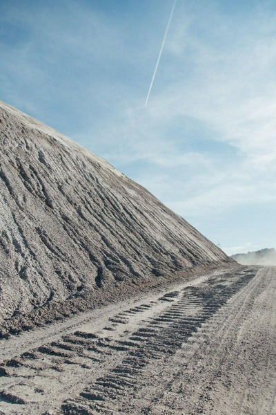 This picture shows ruts of a bulldozer.