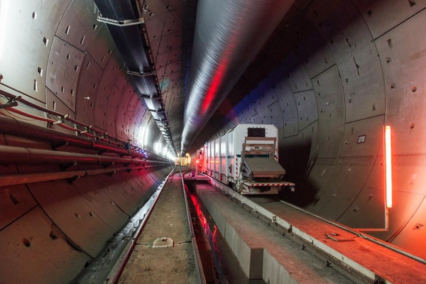 A rescue train is going through a tunnel.