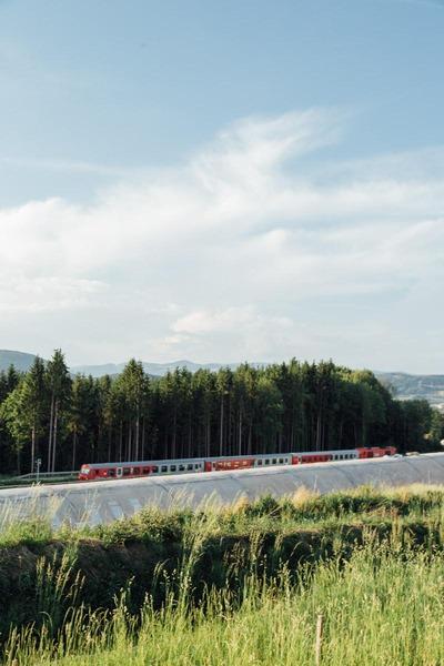 A train passes a tunnel tube.