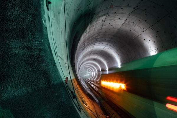 This picture shows the inner surface of a tunnel tube.