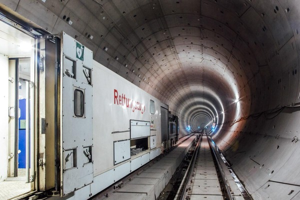 A rescue train stands in a tunnel tube.