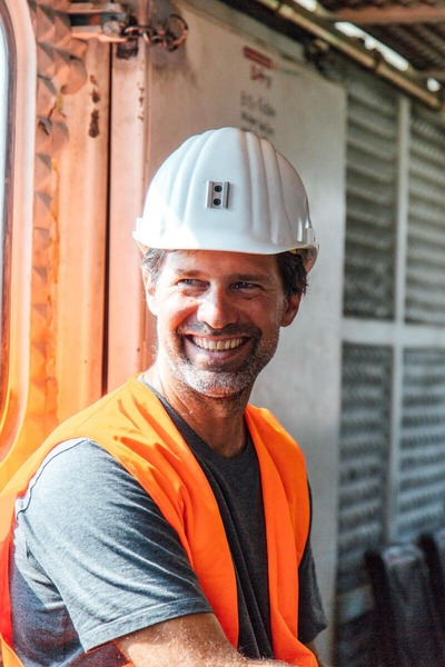 This picture shows a cheerful miner.