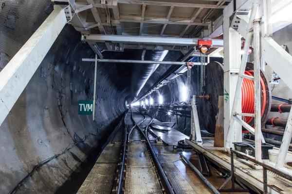 A rescue train drives along a tunnel tube.