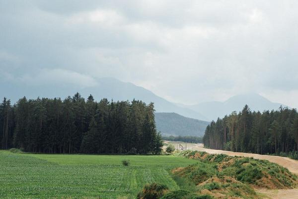 A train drives through a wonderful landscape.