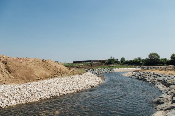 River at the construction site
