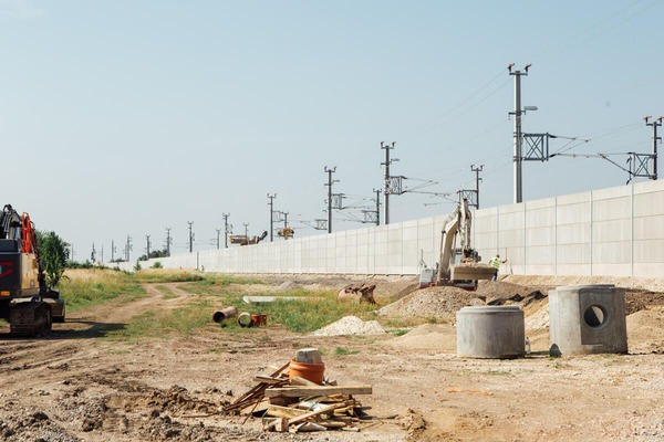 Construction site near the rail network