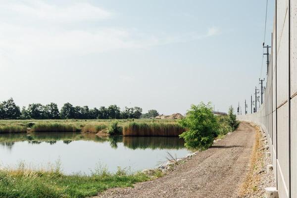 Pond near the building site