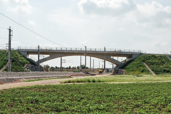 Newly built overpass with new railroad line