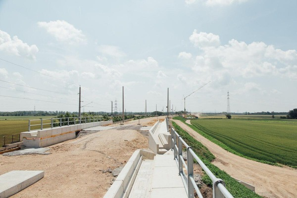 View of the current construction site for the new train track