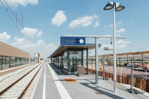 Train station with construction site in background