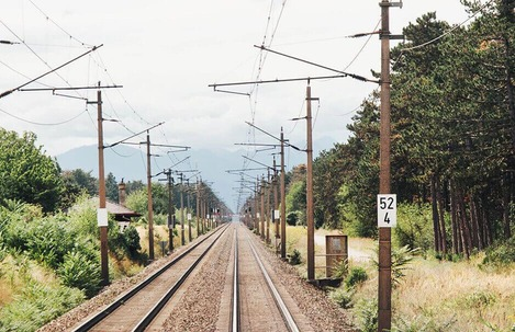 Railroad line in the green