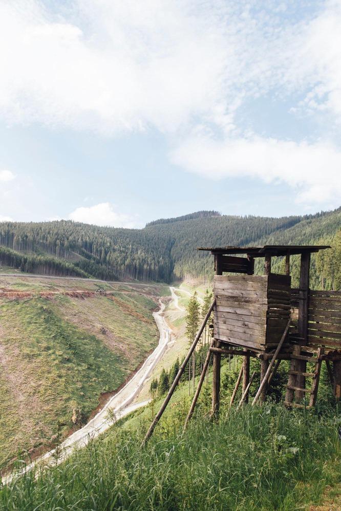 Jagdhütte mit Berg im Hintergrund