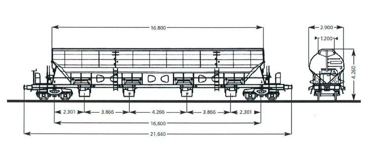 Der vierachsige Schüttgutwagen mit öffnungsfähigem Dach und acht beweglichen Auslaufrutschen ist vor allem für die Beladung von oben, sowie die Entladung mittels Entladebunker oder Förderband geeignet.