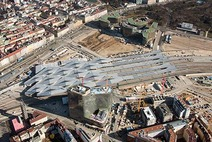 Vogelperspektive Hauptbahnhof Wien in Bau