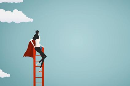 Zeichnung von Bild mit einer Frau auf einer Leiter