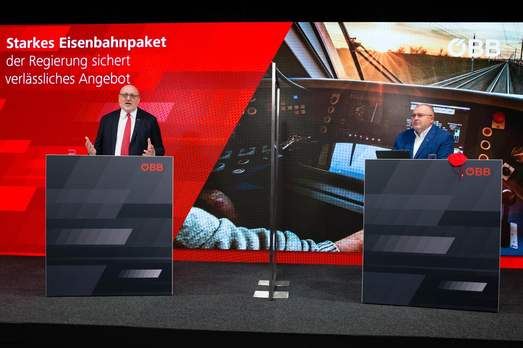 vlnr. ÖBB CEO Andreas Matthä u. ÖBB CFO Arnold Schiefer, Bilanz Pressekonferenz