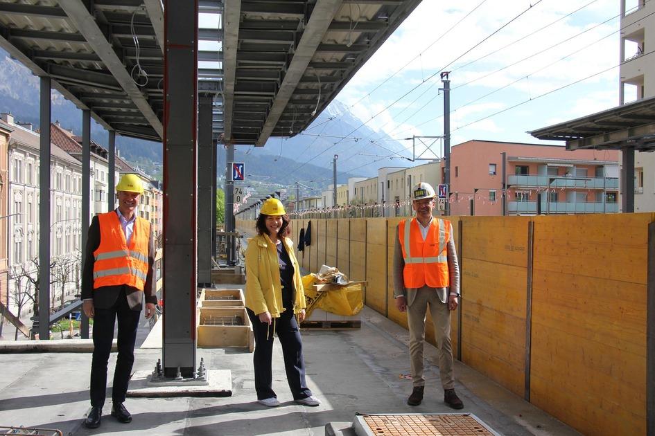 Bauarbeiten Haltestelle Messe Innsbruck